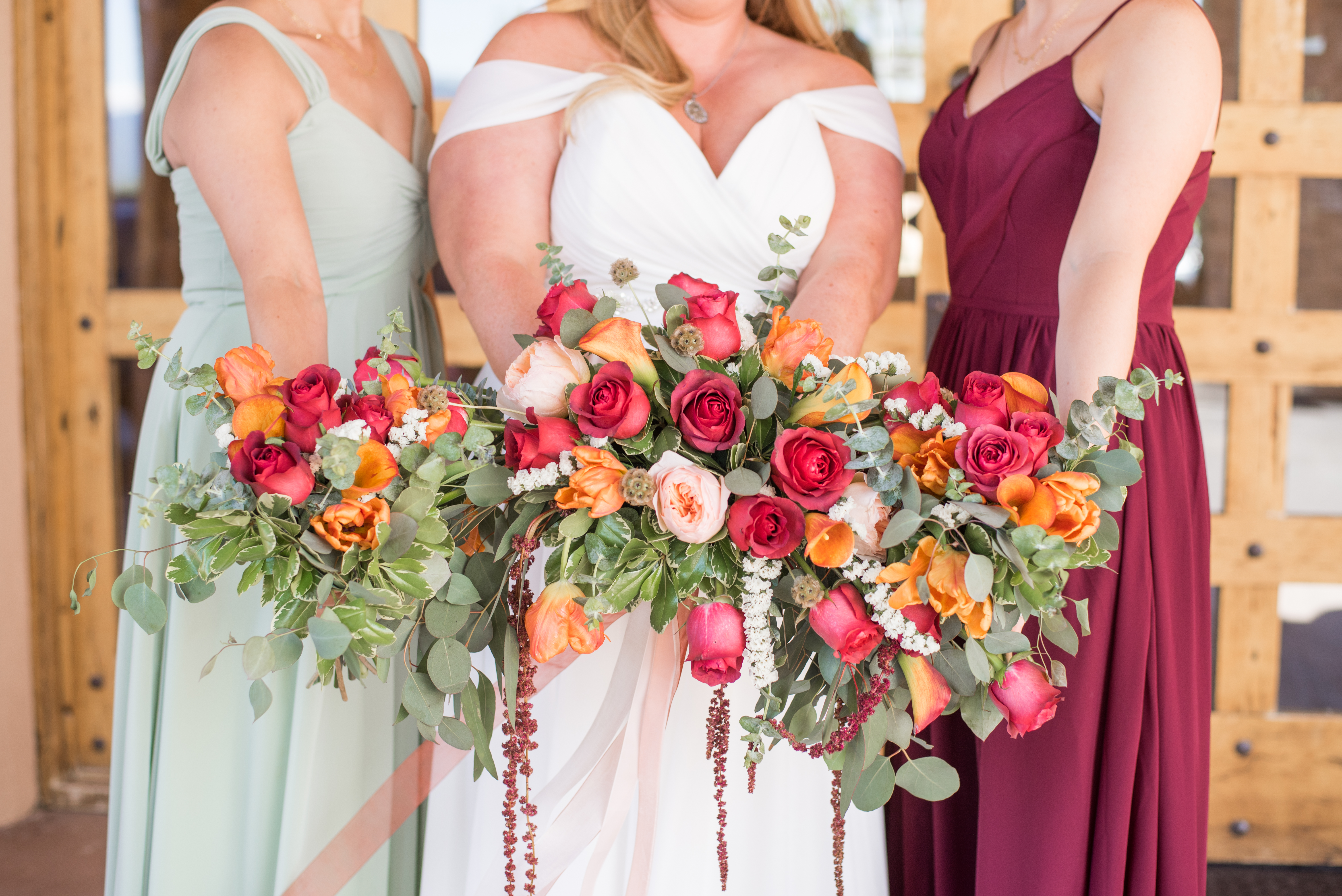 new mexico florist, pink and orange bouquet, boho wedding, red and orange wedding, roses, wedding roses, new mexico wedding