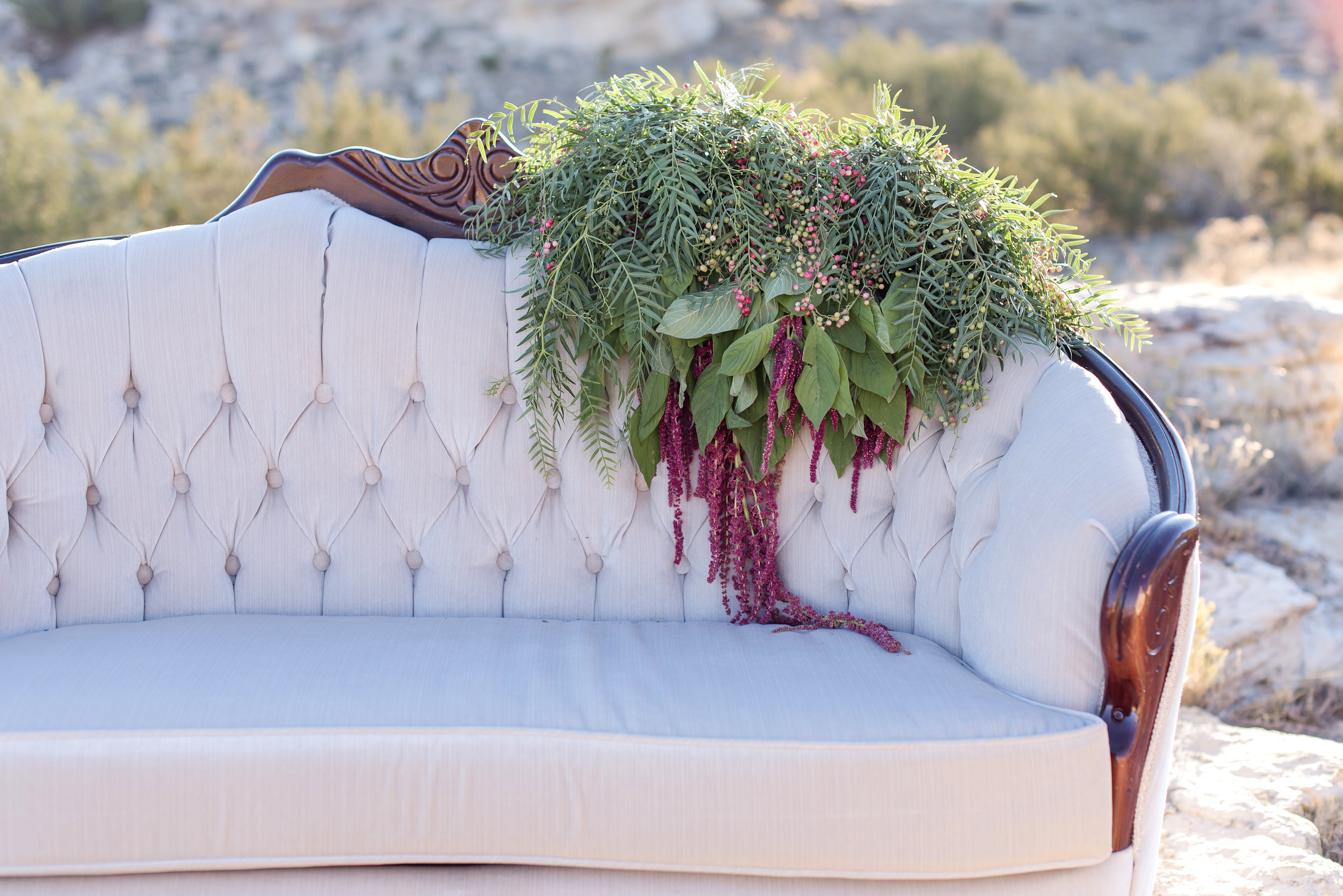 wedding planning photography styled shoot natural light outdoor elopement engagement New Mexico Albuquerque mountains Perfect Wedding Guide furniture vintage greenery home decor rental loves eat love marriage