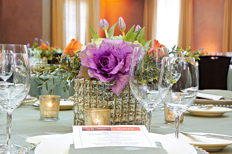 chef catering food wedding planning tips inspiration inspo New Mexico Santa Fe Albuquerque Perfect Wedding Guide  delicious tablescape reception delicious floral arrangement purple gold silverware dining