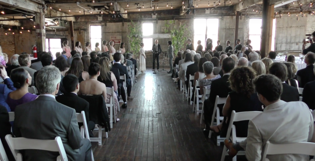 A still image of a bride and groom at the alter inside from a wedding video, wedding video, new mexico wedding film, glory ranch wedding films